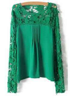 Crochet Flower Splicing Long Sleeves Blouse - Green M
