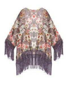 Collarless Floral Tassel Splicing Long Sleeve Kimono - L