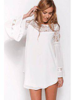 Flare Sleeve Lace Spliced Chiffon Dress - White Xl