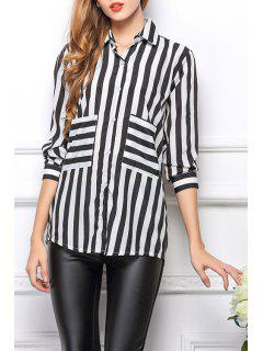 Long Sleeve Striped Single-Breasted Shirt - White And Black Xl