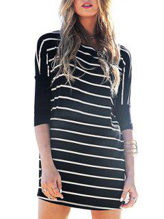 Half Sleeve Striped Loose-Fitting Dress - Black Xl