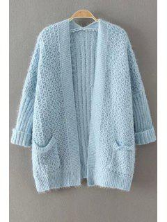 Collarless Solid Color Pocket Cardigan - Blue