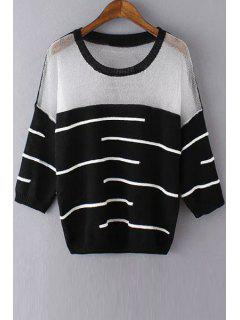 See-Through White Black Stripe Long Sleeve Sweater - Black