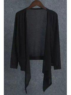 Solid Color Asymmetrical Cardigan - Black