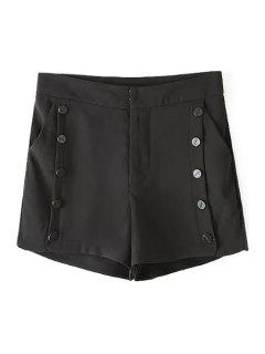 Solid Color Double-Breasted High Waisted Shorts - Black S