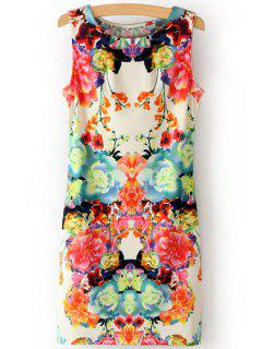 Scoop Neck Flower Print Sundress - M