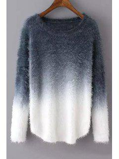 Ombre Mohair Long Sleeve Sweater - Gray