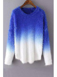Ombre Mohair Long Sleeve Sweater - Sapphire Blue