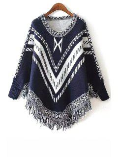 Stripe Fringe Splicing Long Sleeve Sweater - Purplish Blue