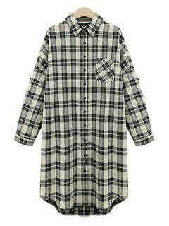 Draped Sleeve Single-Breasted Plaid Midi Dress - White And Black 5xl