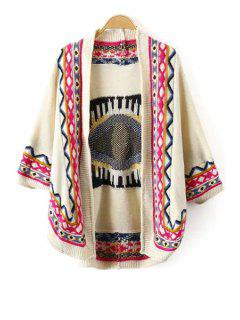 Tribal Pattern 3/4 Sleeve Cardigan - Beige M