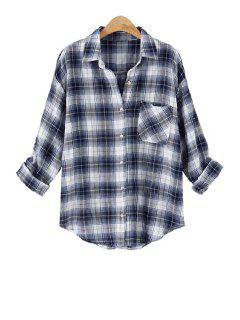Long Sleeve Plaid Single-Breasted Shirt - Blue And White Xl