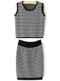 Zig Zag Jewel Neck Tank Top And Bodycon Skirt Suit - Black