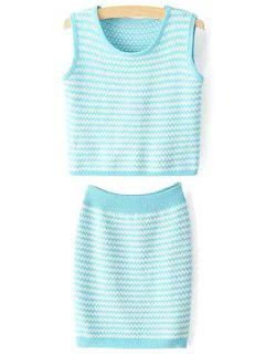 Zig Zag Jewel Neck Tank Top And Bodycon Skirt Suit - Blue