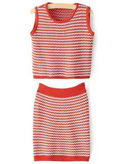 Zig Zag Jewel Neck Tank Top And Bodycon Skirt Suit - Jacinth