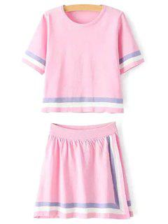 Stripes Short Sleeve T-Shirt And A Line Skirt Suit - Pink