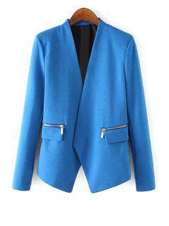 V Neck Zipper Pocket Long Sleeve Blazer - Blue L