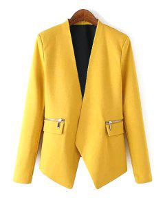 V Neck Zipper Pocket Long Sleeve Blazer - Yellow L