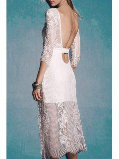 See-Through Lace 3/4 Sleeve Dress - White L