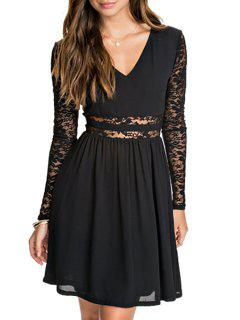 Lace Spliced V Neck Long Sleeve Dress - Black M