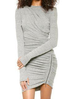 Long Sleeve Ruched Zipper Bodycon Dress - Gray L