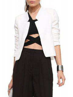 Solid Color Simple Design Blazer - White L