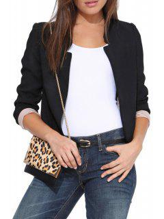 Solid Color Simple Design Blazer - Black M