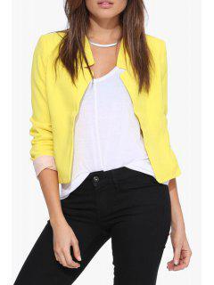 Solid Color Simple Design Blazer - Yellow Xl