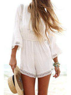 Lace Splicing Openwork 3/4 Sleeve Playsuit - S