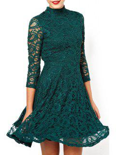 Solid Color Stand Neck 3/4 Sleeve Lace Dress - Blackish Green Xl