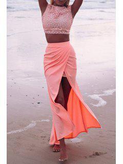 Lace Crop Top + High-Waisted Slit Skirt Twinset - Pink Xl
