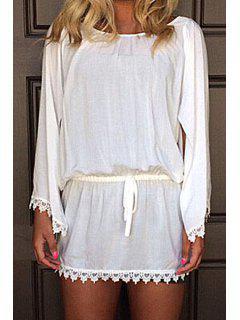 Slit Sleeve Laciness Chiffon Dress - White L