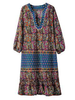 V Neck Paisley Print 3/4 Sleeve Dress - Blue L