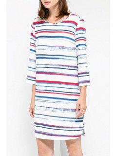 Colorful Stripe 3/4 Sleeve Dress - S