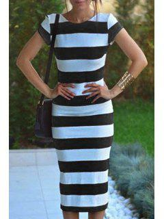 Striped Short Sleeve Backless Pencil Dress - White And Black M