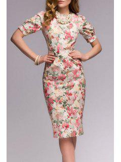 Slimming Floral Print Short Sleeve Dress - L