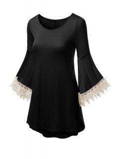 Solid Color Scoop Neck Flare Sleeve Dress - Black Xl