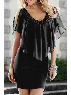 Chiffon Ruffles Spliced V Neck Dress - Black S