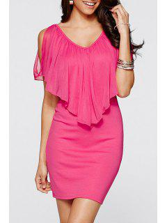 Chiffon Ruffles Spliced V Neck Dress - Rose Xl