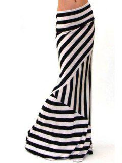 Stripes Packet Buttocks Long Fishtail Skirt - White And Black Xl