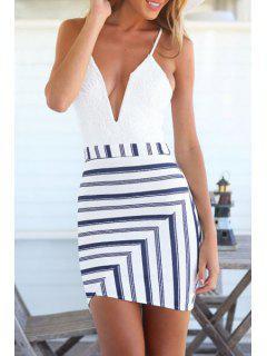 Stripes Spliced Cami Bodycon Dress - White Xl