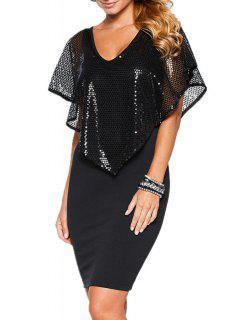 Sequins Spliced V Neck Bodycon Dress - Black Xl