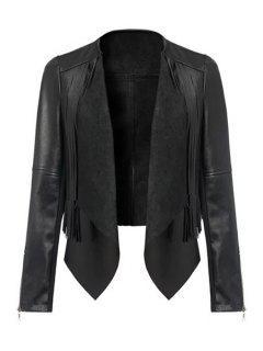 Long Sleeve PU Leather Black Jacket - Black S