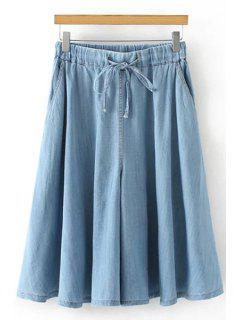 Denim Elastic Waist Drawstring Capri Pants - Light Blue M