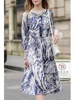 Ink Print Jewel Neck Long Sleeve Dress - Purplish Blue L