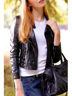 Black Long Sleeve Faux Leather Zipper Jacket - Black S