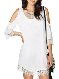 Half Sleeve Cut Out Laciness White Dress - White L
