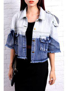 Half Sleeve Ombre Color Denim Coat - Blue And White L