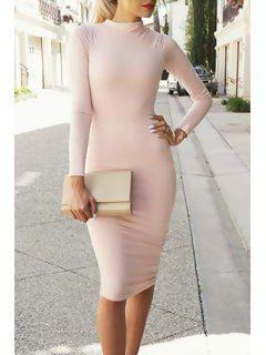 Pink Long Sleeve Bodycon Dress - Pink M