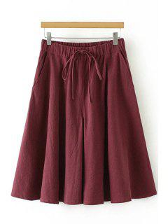 Linen Elastic Waist Drawstring Capri Pants - Wine Red L